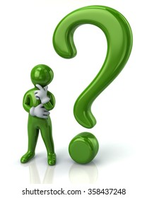 Green thinking man and question mark isolated on white background