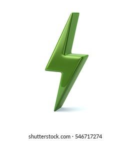Green thunderbolt icon 3d illustration isolated on white background