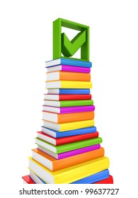 Green tick mark on a big stack of colorful books.Isolated on white background.3d rendered.