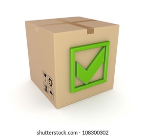 Green tick mark on a carton box.Isolated on white background.3d rendered.