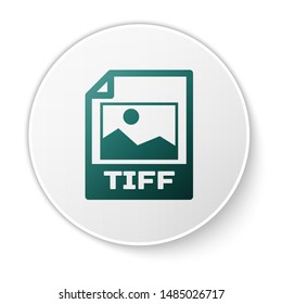 Green TIFF file document icon. Download tiff button icon isolated on white background. TIFF file symbol. White circle button