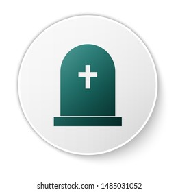 Green Tombstone with cross icon isolated on white background. Grave icon. Green circle button