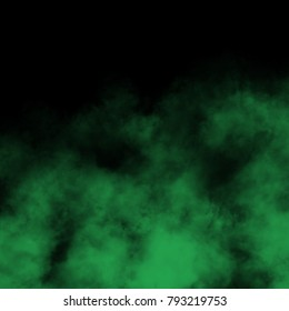 Green toxic fog and mist effect on black background.