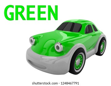 Green toy car and an inscription with the name of the color. Isolated on white background. 3D render
