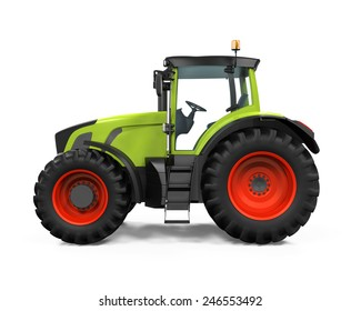 Green Tractor Isolated