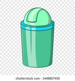 Green trash can icon in cartoon style isolated on background for any web design