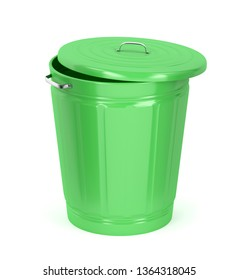 Green trash can on white background, 3D illustration
