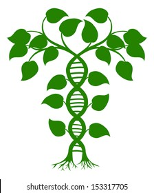 Green tree illustration with the trees or vines forming a DNA double helix