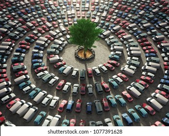 green tree surrounded by cars, 3d illustration
