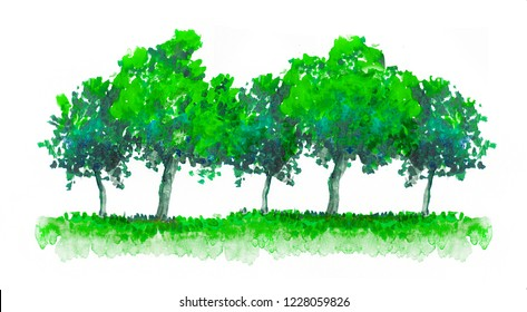 Green trees watercolor illustration. Abstract nature background, forest border, hand drawn illustration