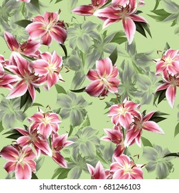 Green trendy floral colour photo pattern blossom flowers lilies seamless background. Amazing photo collage for floral design.
