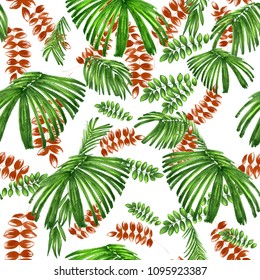 Green tropic seamless pattern palm leaves on a white. Watercolor markers painting lush coconut foliage - exotic floral elements graphi design stylish. Allover foliage jungle.