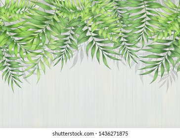 Green tropical leaves hanging from above on a textured wall on a light gray background. Fresco, Wallpaper for interior printing.