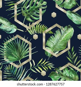 Green tropical palm & fern leaves with gold geometric shapes on black background. Watercolor hand painted seamless pattern. Tropical illustration. Jungle foliage.