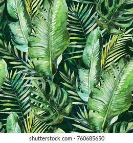 Green tropical palm & fern leaves on black background. Watercolor hand painted seamless pattern. Tropical illustration. Jungle foliage.