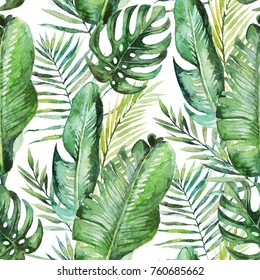 Green tropical palm & fern leaves on white background. Watercolor hand painted seamless pattern. Tropical illustration. Jungle foliage.