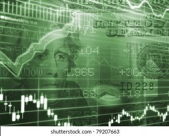 Green Twenty Dollar Bill with Stock Market Chart