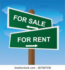 Green Two Way Street or Road Sign Pointing to For Sale and For Rent in Blue Sky Background