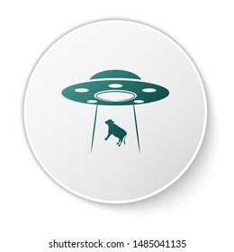 Green UFO abducts cow icon isolated on white background. Flying saucer. Alien space ship. Futuristic unknown flying object. White circle button