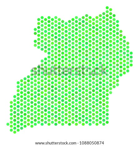 Green Uganda Map Raster Hex Tile Stockillustration 1088050874