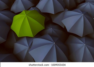 Green umbrella in between a lot of black ones(3D Rendering)