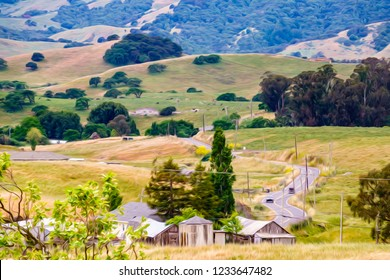 Green valley with farm buildings here and there along back road winding across rolling hills on the outskirts of Petaluma in northern California, USA, in spring, with digital oil-painting effect