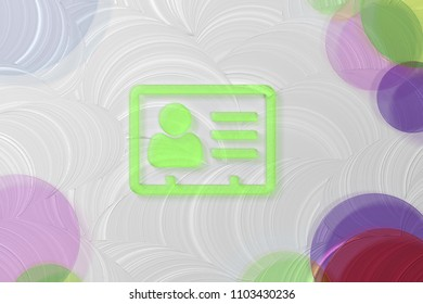 Green Vcard Icon on the White Painted Oil Background. 3D Illustration of Green v Card, v Card, Vcard, Vcard File, Vcard File Icon Set on the White Background.