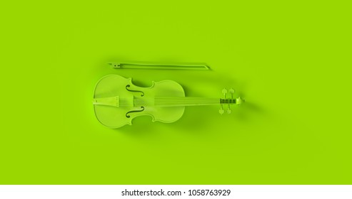Green Violin 3d illustration