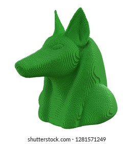 Green voxel Anubis head on a white background. 3D illustration.