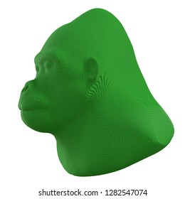 Green voxel gorilla head on a white background. 3D illustration.