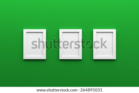 Green Wall On Which Hang Three Stock Illustration 264895031