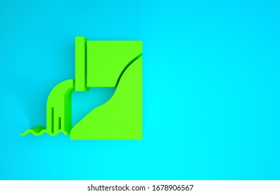 Green Wastewater icon isolated on blue background. Sewer pipe. From the pipe flowing liquid into the river. Minimalism concept. 3d illustration 3D render