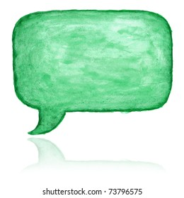Green watercolor blank speech bubble dialog shape with color reflection on white background