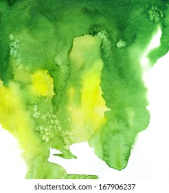 Green watercolor hand painted background