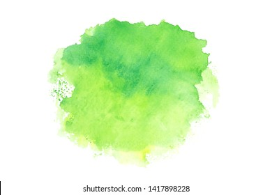 green watercolor stain with color shades paint stroke on white background splash texture