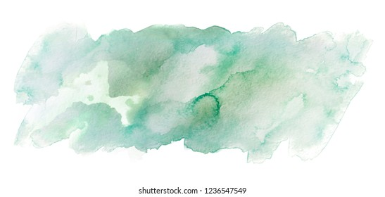 green watercolor stain painted with a brush hand drawn. on white