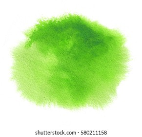 Green watercolor stain with splash, watercolour paint strokes, blots and wet edges