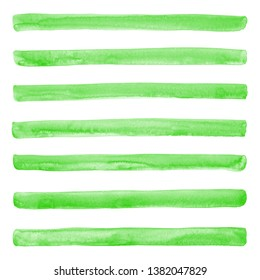 Green watercolor stripes with stains background. Wide hand drawn watercolour different streaks, long brush strokes, ribbons, bars texture, pattern. Border, banner, eco vegan print design template.