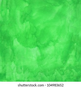 Green watercolor texture. Color abstract aquarelle background. Handmade technique