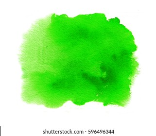 Green watercolor texture stain with aquarell splash and brush strokes