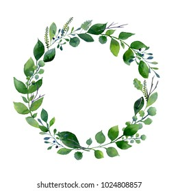 Green watercolor wreath. Composition of fresh summer foliage and tree branches. Design for wedding, invitations or cards