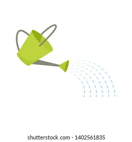 Green watering can icon. Clipart image isolated on white background