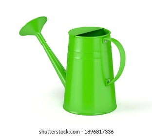 Green watering can on white background, 3D illustration