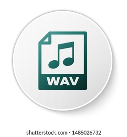 Green WAV file document icon. Download wav button icon isolated on white background. WAV waveform audio file format for digital audio riff files. White circle button
