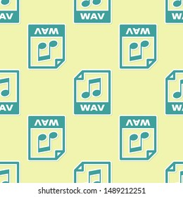 Green WAV file document icon. Download wav button icon isolated seamless pattern on yellow background. WAV waveform audio file format for digital audio riff files