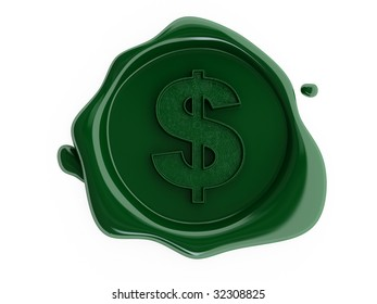 Green wax dollar symbol