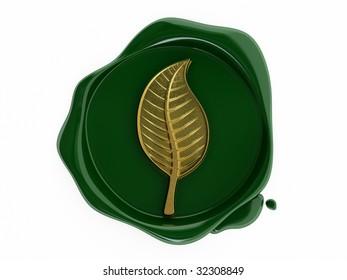 Green wax leaf symbol gold