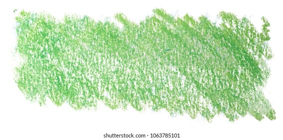 green wax pencil, crayon. A flourish on paper is a rectangle. texture on a white background.