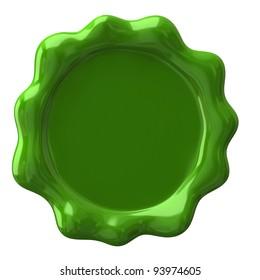 Green wax seal with blank field