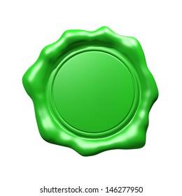 Green Wax Seal - Isolated